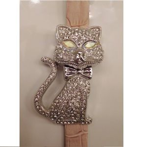 Cat Crystal & Silver Watch Pink Leather Band Gruen